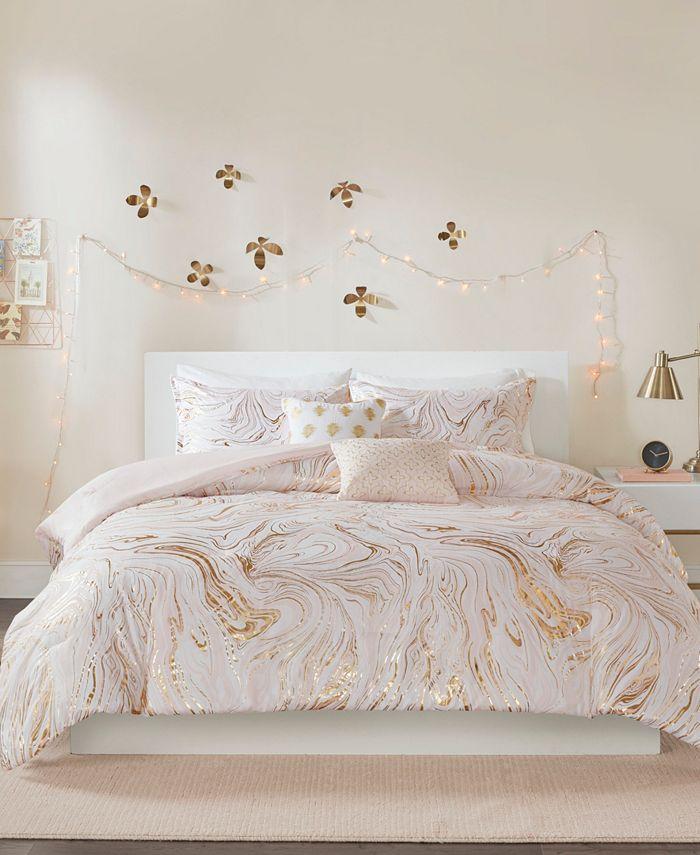Intelligent Design - Rebecca Metallic Printed 5-Piece Full/Queen Comforter Set