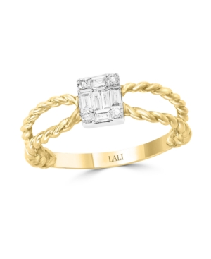 Diamond (1/5 ct. t.w.) Ring in 14K Yellow and White Gold