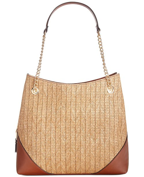 INC International Concepts INC Trippii Straw Chain Tote, Created For Macy's