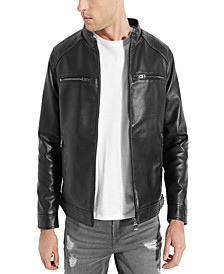 Men's Hooded Faux Leather Jacket