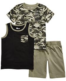 Little Boys 3-Pc. Camo Dino T-Shirt, Pocket Tank & Knit Shorts, Created for Macy's