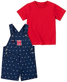 Baby Boys 2-Pc. Solid T-Shirt & Printed Shortalls Set