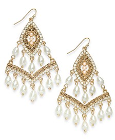 INC Gold-Tone Beaded Kite Drop Earrings, Created for Macy's