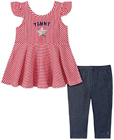 Baby Girls 2-Pc. Striped Tunic & Denim Leggings Set