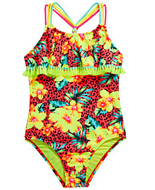 Breaking Waves Big Girls 1-Pc. Sassy Tropics Flounce Swimsuit