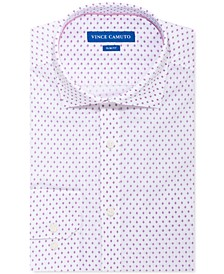 Men's Slim-Fit Stretch White Pink Diamond Dress Shirt