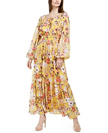 INC Printed Peasant Maxi Dress, Created for Macy's