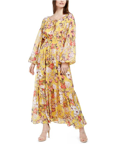 INC International Concepts INC Printed Peasant Maxi Dress, Created for Macy's