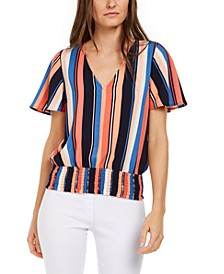 Striped Smocked Top, Regular & Petite