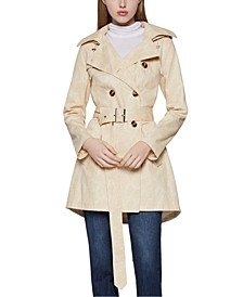 Hooded Snake-Embossed Trench Coat