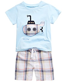 Baby Boys Submarine T-Shirt & Plaid Shorts Separates, Created for Macy's