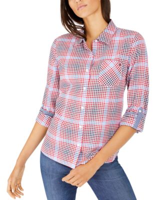 Gingham Roll-Tab-Sleeve Cotton Top