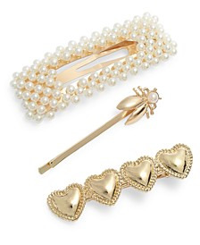 Gold-Tone 3-Pc. Set Imitation Pearl, Bee & Heart Hair Pins & Clips, Created for Macy's