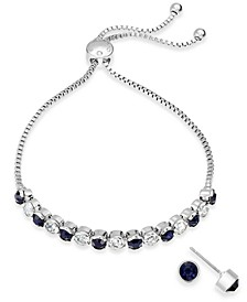 Silver-Tone 2-Pc. Set Crystal Birthstone Bolo Bracelet & Stud Earrings, Created for Macy's