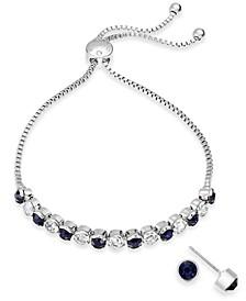 2-Pc. Set Crystal Birthstone Bolo Bracelet & Stud Earrings, Created for Macy's