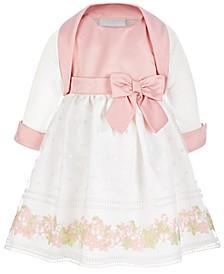 Baby Girls 2-Pc Shrug & Embroidered Organza Dress Set