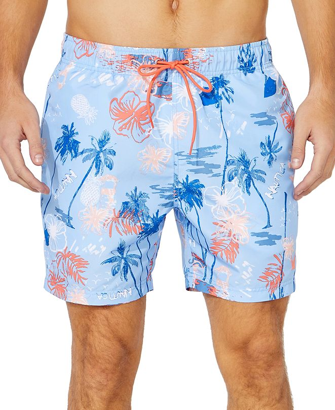 "Nautica Men's Island Print 6"" Swim Trunks, Created for Macy's"
