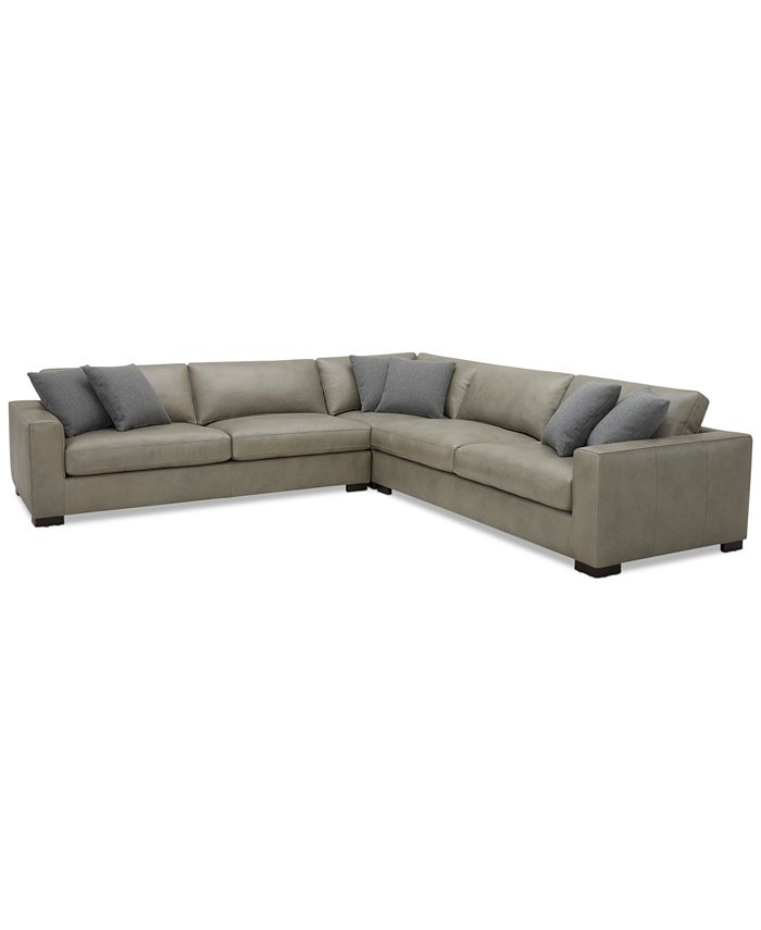 """Furniture - Chelby 3-Pc. Leather """"L"""" Shaped Sectional Sofa"""