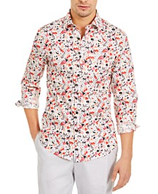 Men's Slim-Fit Stretch Yellow & Pink Tropical Print Shirt