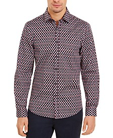 Men's Slim-Fit Stretch Pink Geometric Shirt