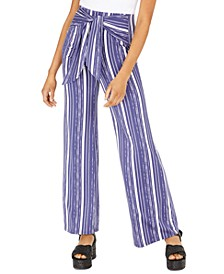 Juniors' Striped Tie-Front Pants