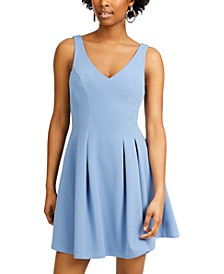 Juniors' Double V-Neck Fit & Flare Dress