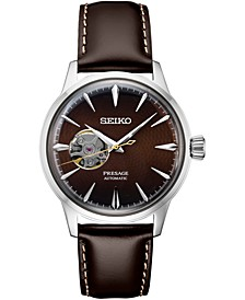 Men's Presage Automatic  Brown Leather Strap Watch 40.5mm