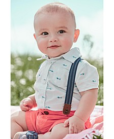 Toddler Boys 3-Pc. Dog-Print Shirt, Solid Shorts & Suspenders Set