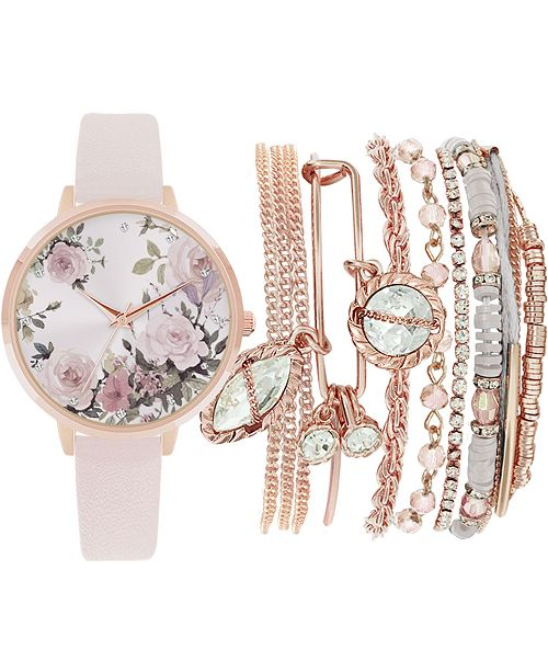 Jessica Carlyle Women's Blush Faux Leather Strap Watch 36mm Gift Set