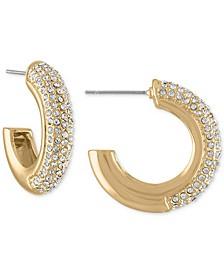 """Gold-Tone Small Pavé Chubby Hoop Earrings, 1"""""""