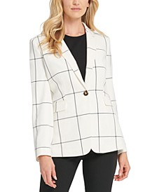 Windowpane-Print Single-Button Blazer