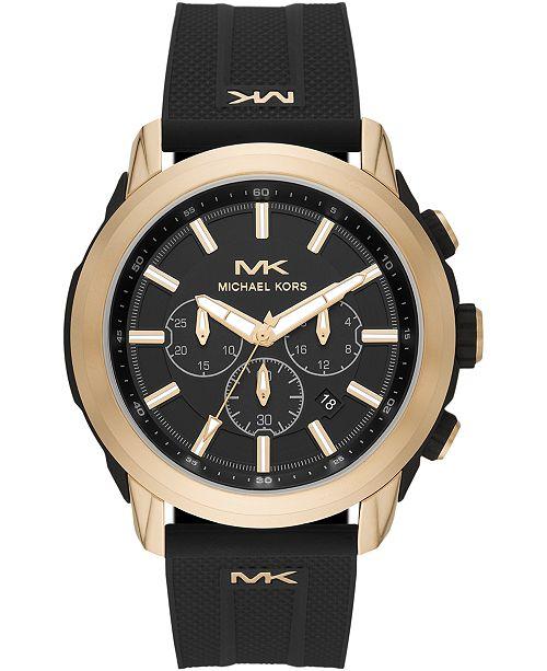 Michael Kors Men's Chronograph Kyle Black Silicone Strap Watch 48mm