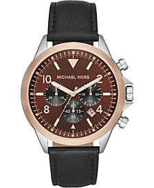 Men's Chronograph Gage Black Leather Strap Watch 45mm