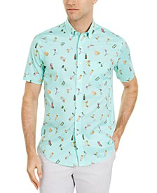 Men's Cocktail Print Short Sleeve Shirt, Created for Macy's