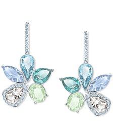 Silver-Tone Crystal Flower Drop Earrings