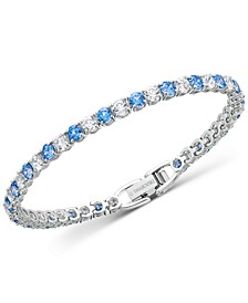 Silver-Tone Crystal Tennis Bracelet