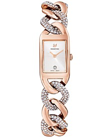 Women's Cocktail Rose Gold-Tone PVD Stainless Steel Chain Bracelet Watch 24.5mm