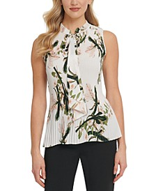 Pleated Floral-Print Tie-Neck Top