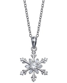 "Cubic Zirconia Snowflake 18"" Pendant Necklace in Sterling Silver, Created for Macy's"