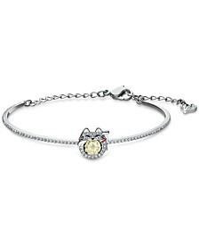 Silver-Tone Crystal Lucky Cat Bangle Bracelet