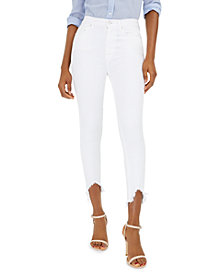 7 For All Mankind Frayed Wave-Hem Skinny Jeans