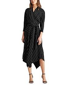 Wrap-Front Pinstripe Dress
