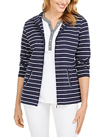 Petite Striped Zippered Hoodie, Created for Macy's