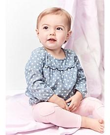 Baby Girls 2-Pc. Heart-Print Chambray Top & Leggings Set