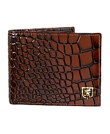 Leather Croc Embossed Bifold Wallet