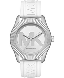 Women's Maddye White Logo Silicone Strap Watch 43mm