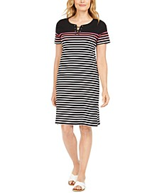 Mirage Cotton Striped Lace-Up Dress, Created for Macy's