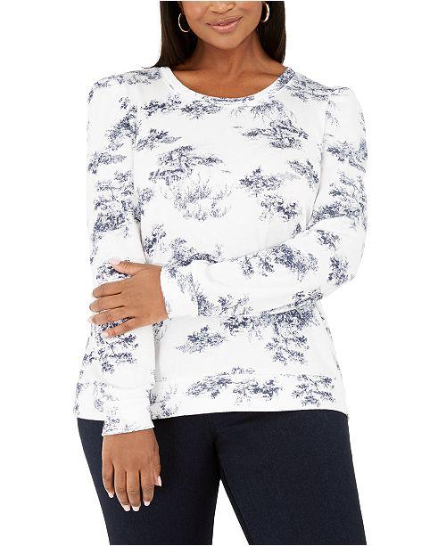 INC International Concepts INC Plus Size Printed Puff-Sleeve Sweatshirt, Created for Macy's