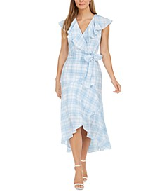 Ruffled Plaid High-Low Surplice Dress