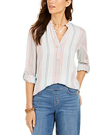 Cotton Striped Cuffed-Sleeve Top, Created for Macy's